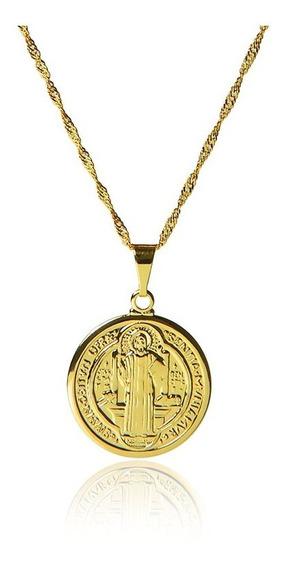 Pingente Medalha São Bento Banhado Com Ouro 18k C Corrente