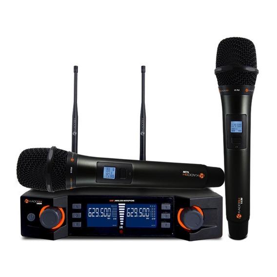Microfone Kadosh Duplo Sem Fio Digital Uhf Kdsw-492m
