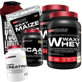 Kit 2x Whey Protein + Bcaa + Creatina + Coquet. + Waxy Maize