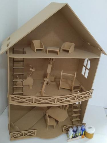 Casa De Muñeca Con Muebles De Madera Fibrofacil Infantil