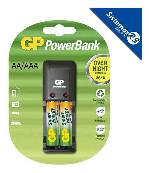 Powerbank Cargador Gp Aaa/aa + 2 Bateria Aa Recargable Pila