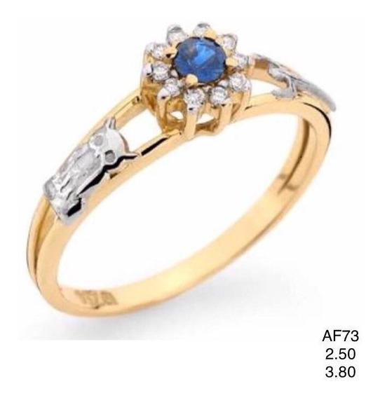 Anel Em Ouro 18k, Com Safira Azul Natural E Diamantes