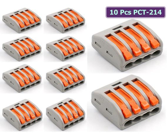 Kit 10 Conector Emenda Derivacao 4 Fios Alavanca Tipo Wago