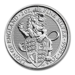 Moneda 2 Oz Plata Pura Coleccion Queen Beasts El Leon 2016