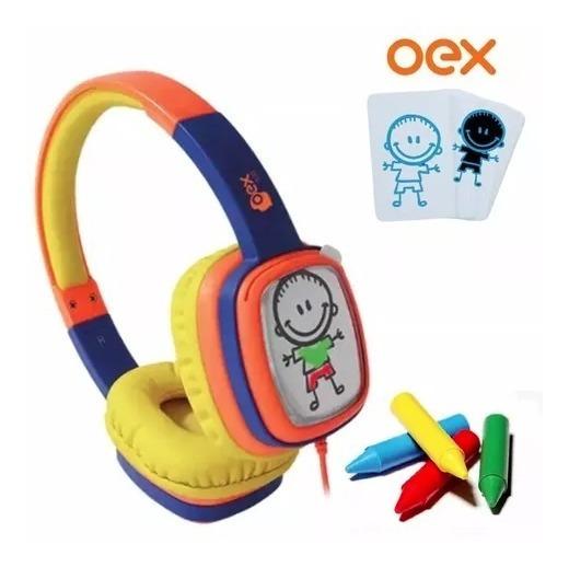 Fone De Ouvido Infantil Oex Hp302, Giz De Cera - Laranja