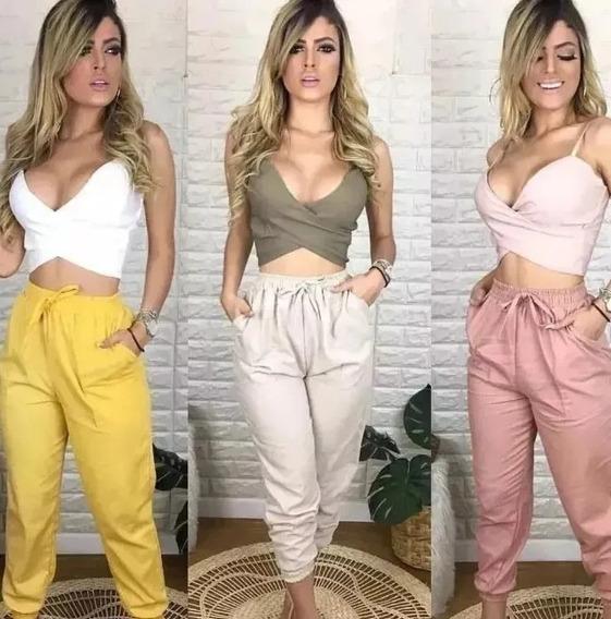 Calca Bomber Jogeer Feminina Cintura Alta Moda Blogueira
