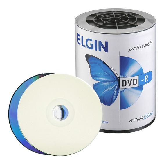 100 Dvd-r Elgin Printable Ate O Eixo( Nao Grava Jogos)