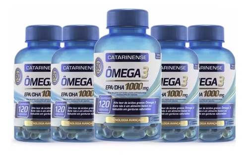 Ômega 3 (5 Un) Catarinense 1000mg Original C/120 Caps Cada