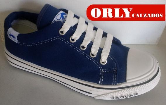 Zapatillas De Lona Jaguar Negra/azul/blanca Cod. 126