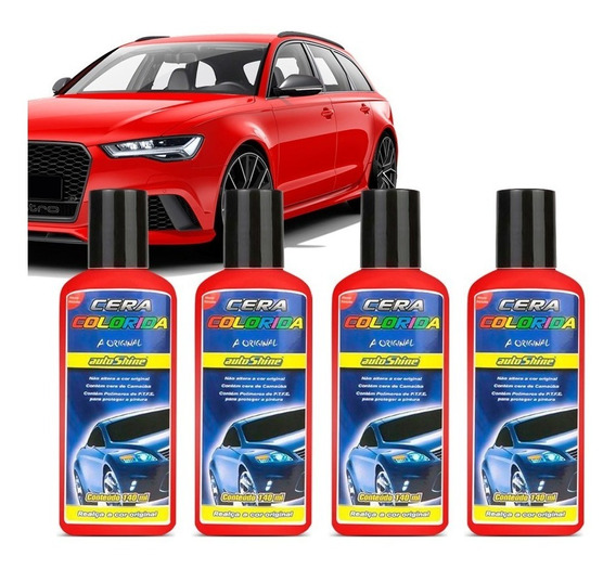 Kit 4 Cera Automotiva Colorida Vermelha Autoshine 140ml
