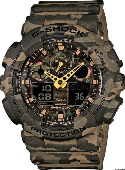 Relógio Casio Gshock Ga100 Camouflage Pulso P/ Entrega Novo