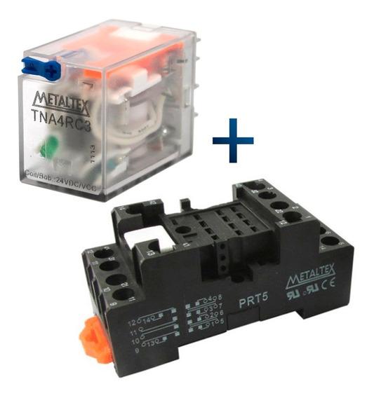 Relé Com Base 24v Metaltex Tna4rc3 + Prt5 Automação