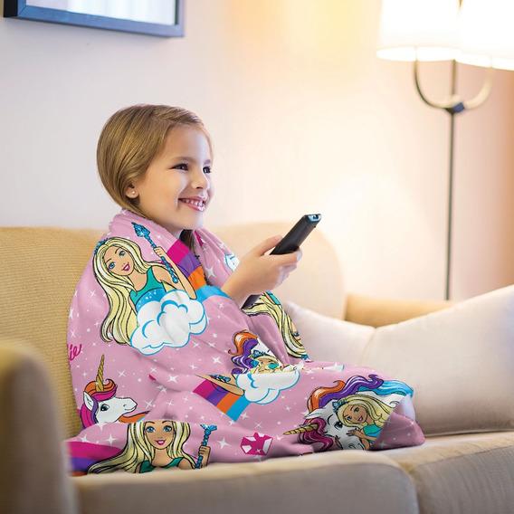 Manta Cobertor Fleece Infantil Personagem Barbie Unicórnio