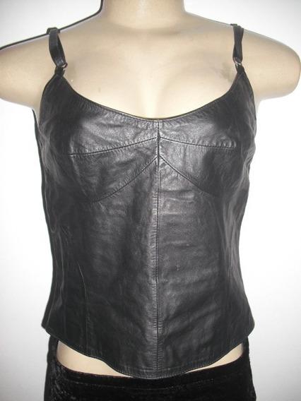 Blusa Cropped Couro Forrado Preto Armadilha Leather