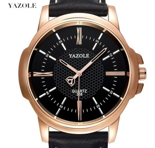 Relógio De Pulso Yazole Masculino Original Couro Social Top