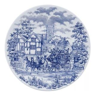 Set X6 Platos Postre Cena Inglesa Tradicional Antiguo Azul