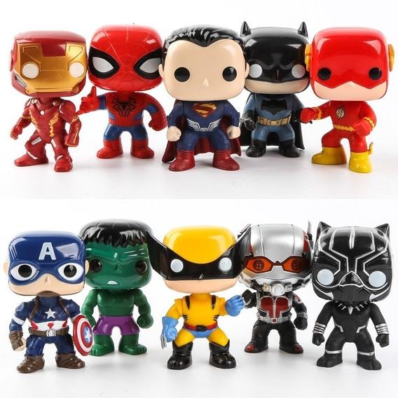 Boneco Funko Pop Heróis Vingadores Liga Justiça Kit Com 5 Un