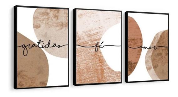 Quadro Decorativo Abstrato Marrom Fé Amor Gratidão