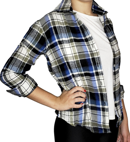 Camisa Dama Viyela A Cuadros Manga Larga Talles: 40 Al 52