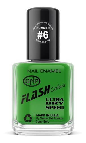 Imagen 1 de 4 de Esmalte Neon Flash Colors De Gnp 15ml Verde