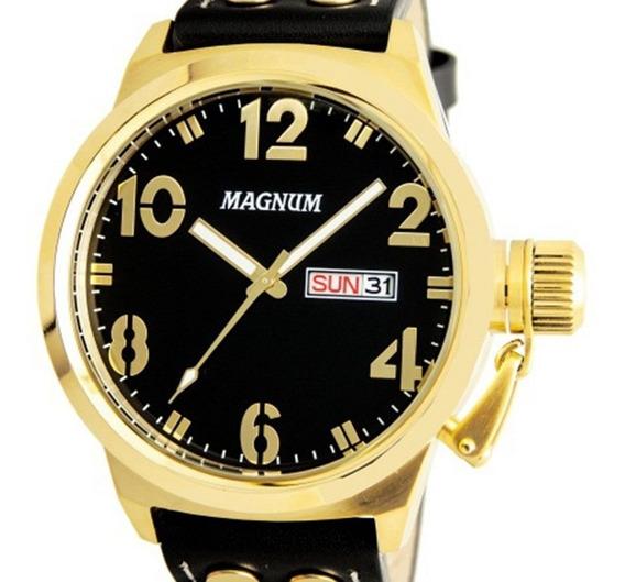 Relógio Magnum Masculino Ma32783 Dourado Couro + Nfe