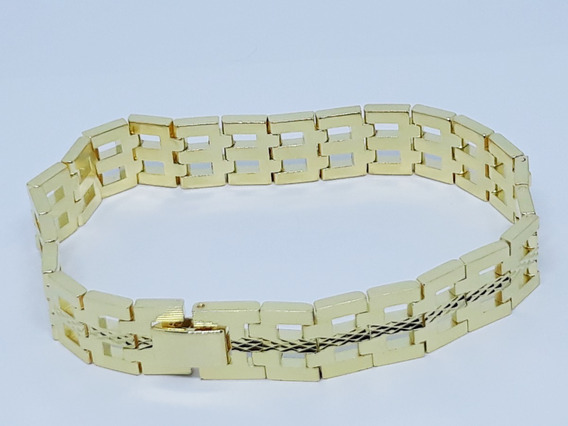 Pulseira Masculina Banhada Ouro Diamantada Moda Bracelete