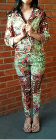 Conjunto Terninho Calça Blazer Feminino Floral Tenho Farm