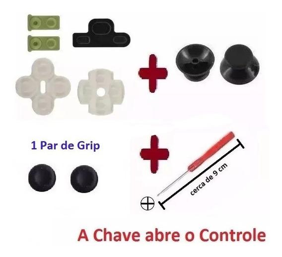 Kit Borrachas Reparo Controle Ps3 + Chave X