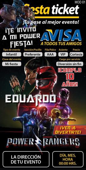 Pinata Power Ranger Rojo Invitaciones Para Fiestas Por Por