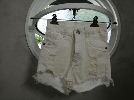 Short De Jean Para Mujer Blanco.