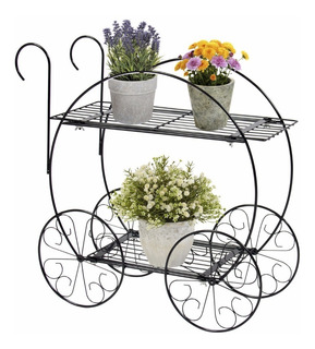 Jardinera Decorativa Carro De Matal Dos Niveles Para Plantas