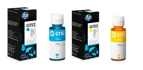 Kit 2 Botellas Tinta Hp Gt52 Amarillo Y Gt52 Cyan Originales
