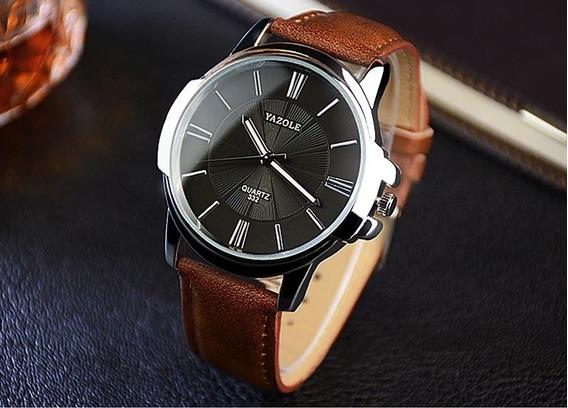 Relógio Yazole Couro Marrom Frete Grátis Elegante Vintage