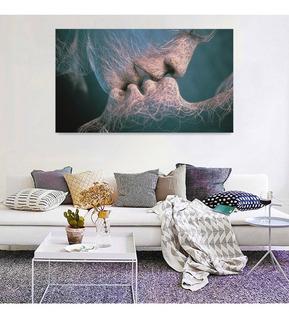 Cuadro Decorativo Moderno Minimalista Beso Abstracto Canvas Listo Para Colgar No Sintetico