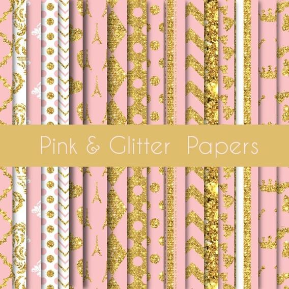 Kit Imprimible Pack Fondos Rosa Dorado Glitter Paris Princes