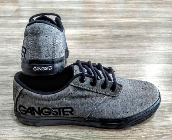 Sapatênis Masculino Gangster Cinza Casual Estilo Skatista