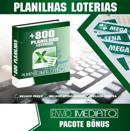 Kit +800 Planilhas Loterias Mega, Dupla, Lotofácil, Quina...