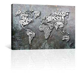 Cuadro Decorativo Canvas Mapas Del Mundo Hechos De Letras