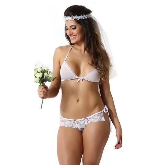 Mini Fantasia Sensual Noiva Sexy Modelo 414 Branca