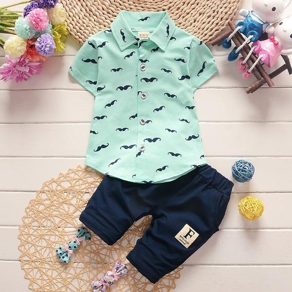 Conjunto Menino Infantil Bebê Bigode Camisa Botão Bermuda