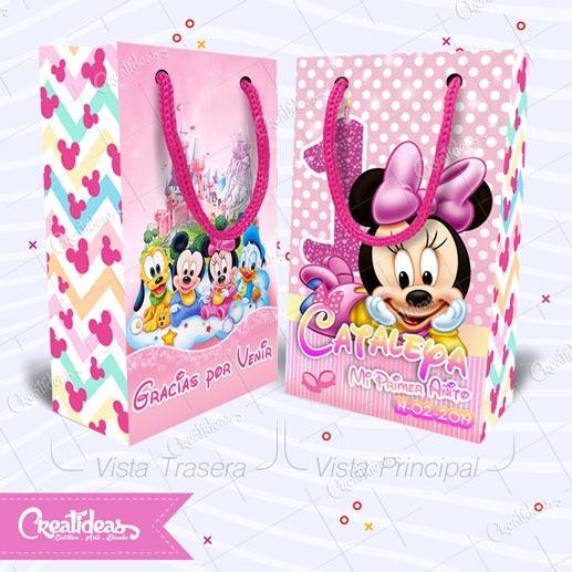 Minnie Bebe Rosa Disney Bolsitas Personalizadas Pack X30
