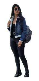 Jaqueta Jeans Forrada De Lã Colarinho E Punhos 2019