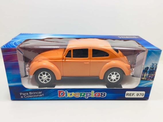 Miniatura Volkswagen Fusca Coleção Carrinho Laranja 22 Cm