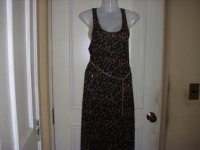 Vestido Largo Animal Print H&m Talla Small