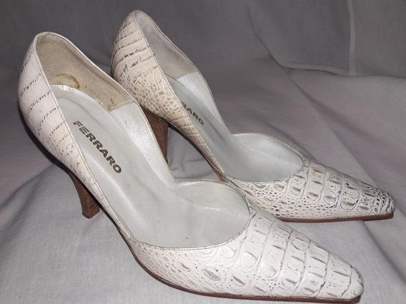 Zapato Stileto Blanco Y Dorado Marca Ferraro Talle 39