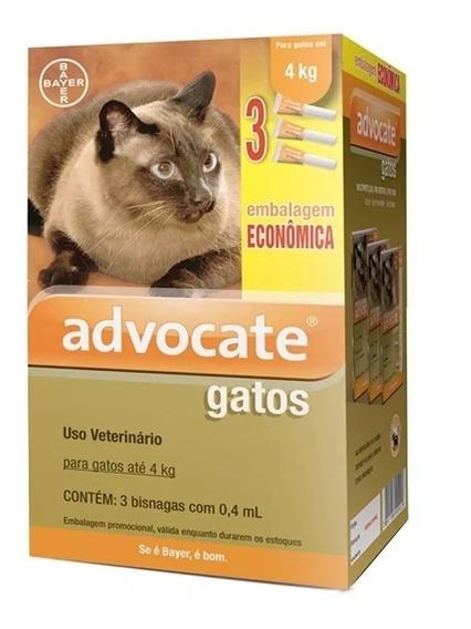 Combo Antipulga Advocate Para Gatos Até 4 Kg - 3 Pipetas