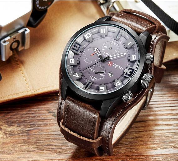 Relógio Importado Masculino Esportivo Militar Pulseira Couro