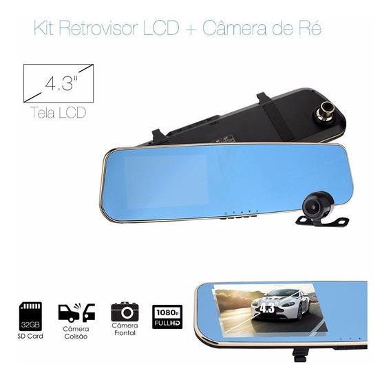 Kit Espelho Retrovisor Tela Lcd4.3 +câmera Frontal+câmera Ré