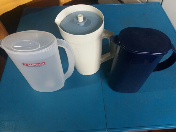 Lote De 3 Jarras Antigas Plastico Inquebravel Usadas