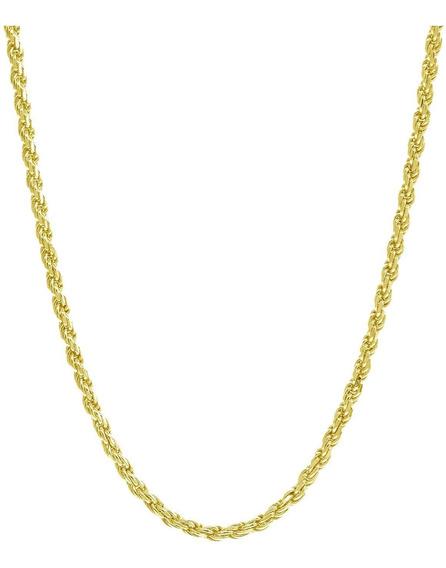 Collar De Cadena De Cuerda De 8 Mm, Oro Macizo De 14 Quilate